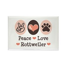 Peace Love Rottweiler Rectangle Magnet (10 pack)