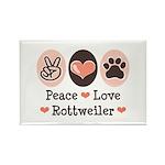 Peace Love Rottweiler Rectangle Magnet (100 pack)