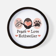Peace Love Rottweiler Wall Clock
