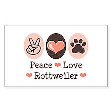Peace Love Rottweiler Rectangle Decal