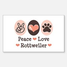 Peace Love Rottweiler Rectangle Decal
