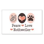 Peace Love Rottweiler Rectangle Sticker