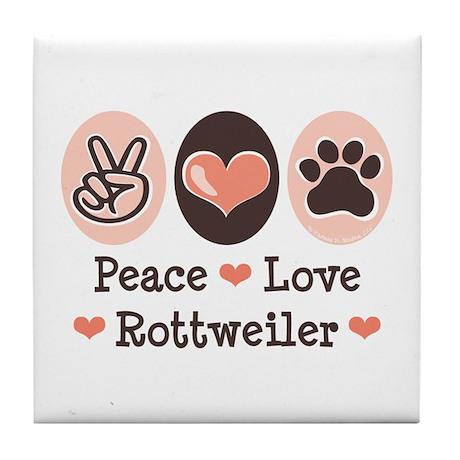 Peace Love Rottweiler Tile Coaster