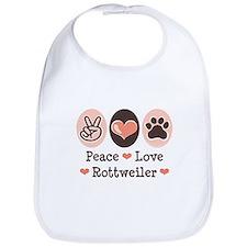 Peace Love Rottweiler Bib