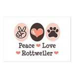 Peace Love Rottweiler Postcards (Package of 8)