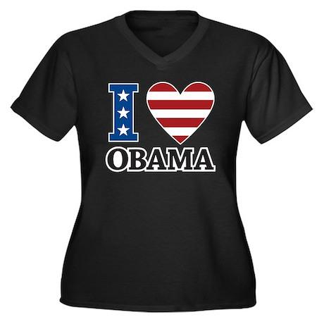 I Love Obama Women's Plus Size V-Neck Dark T-Shirt