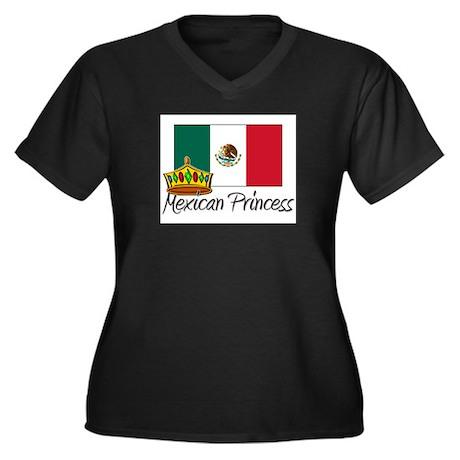 Mexican Princess Women's Plus Size V-Neck Dark T-S