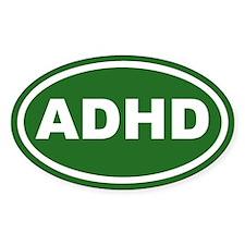 ADHD Green Euro Oval Decal