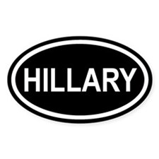 HILLARY Black Euro Oval Decal