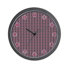 Pink and Grey Plaid Clock