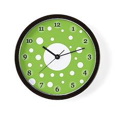 Green Polka Dot Clock