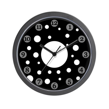 Black Polka Dot Clock