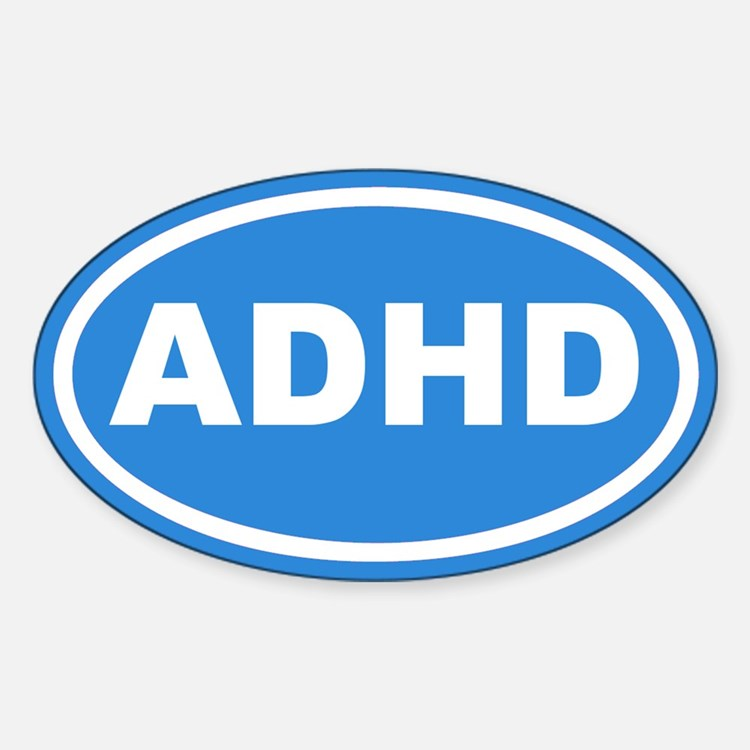 ADHD Blue Euro Oval Decal