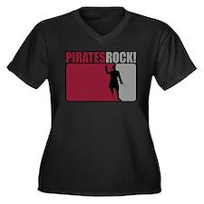 Pirates Rock! Women's Plus Size V-Neck Dark T-Shir