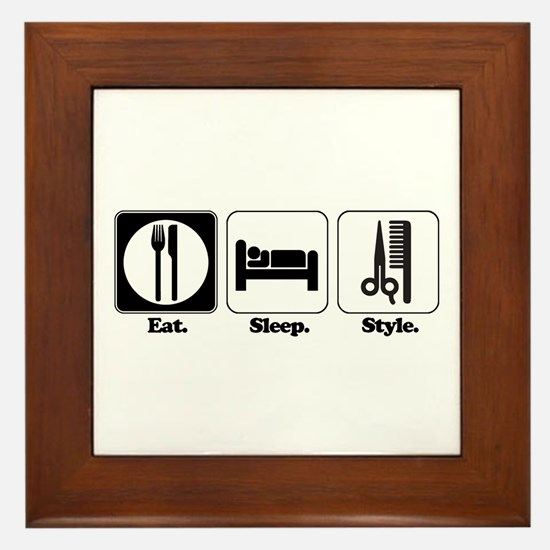 Eat. Sleep. Style. (Hair) Framed Tile