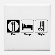 Eat. Sleep. Style. (Hair) Tile Coaster