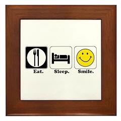 Eat. Sleep. Smile. Framed Tile
