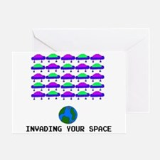 Alien Space Invader Greeting Card