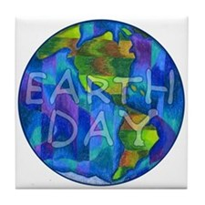 Earth Day Planet Tile Coaster