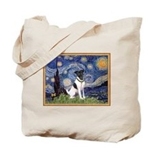 Starry Night & Smooth Fox Terrier Tote Bag