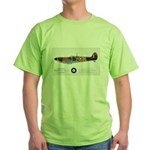 Supermarine Spitfire Aircraft Green T-Shirt