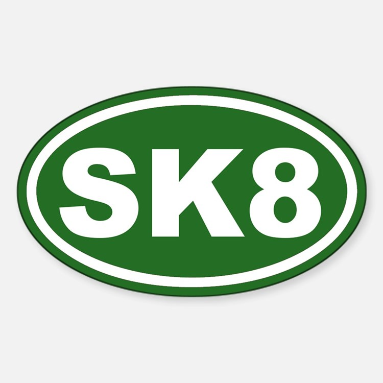 SK8 Skate Green Euro Oval Decal