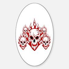 Burning skulls Oval Decal
