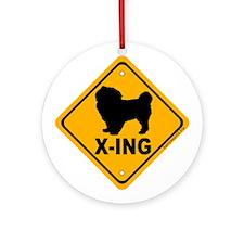 Tibetan Spaniel X-ing Ornament (Round)