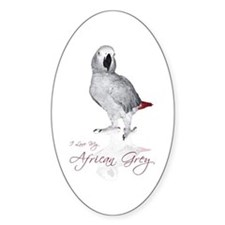i love my african grey Oval Decal