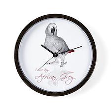 i love my african grey Wall Clock