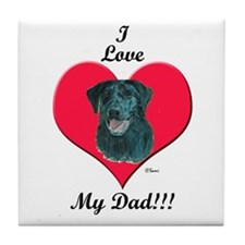 Black Lab: I love my Dad! Tile Coaster