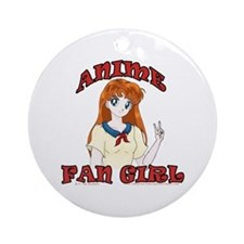 Anime Fan Girl Ornament (Round)