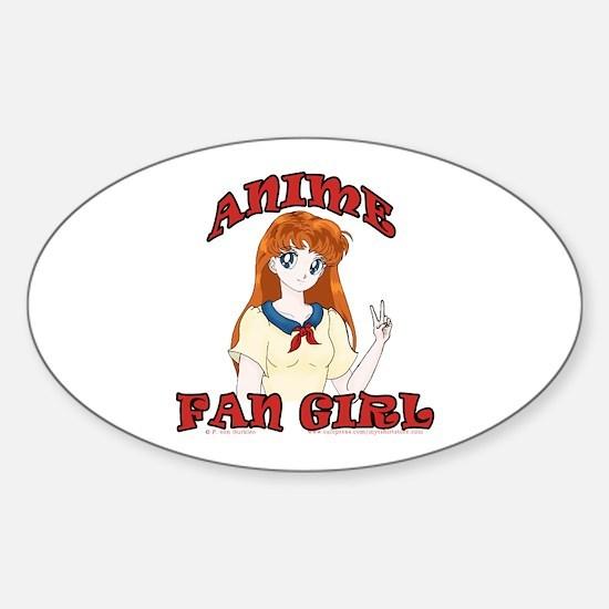 Anime Fan Girl Oval Decal