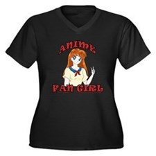 Anime Fan Girl Women's Plus Size V-Neck Dark T-Shi