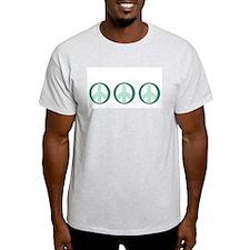 3 Sea Foam Peace Symbol Ash Grey T-Shirt