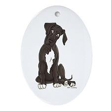 NBlkW Pup Tilt Oval Ornament
