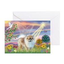 Cloud Angel & Pomeranian Greeting Cards (Pk of 10