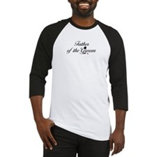 Black Script Father of Groom Baseball Jersey
