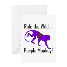 Ride the Wild Purple Monkey Greeting Card