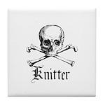 Knitter - Crafty Pirate Skull Tile Coaster