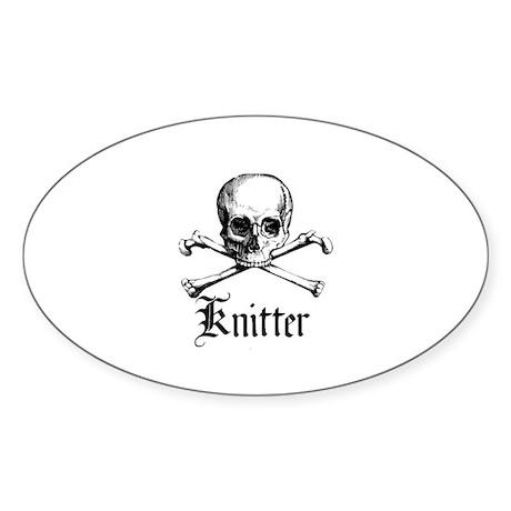 Knitter - Crafty Pirate Skull Oval Sticker
