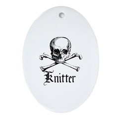 Knitter - Crafty Pirate Skull Oval Ornament