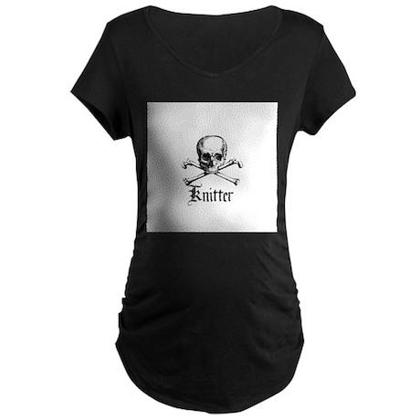 Knitter - Crafty Pirate Skull Maternity Dark T-Shi