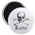 Knitter - Crafty Pirate Skull Magnet