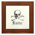 Knitter - Crafty Pirate Skull Framed Tile