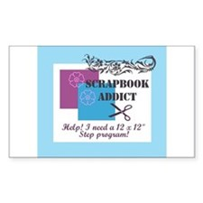 Scrapbook Addict - 12 x 12 St Sticker (Rectangular