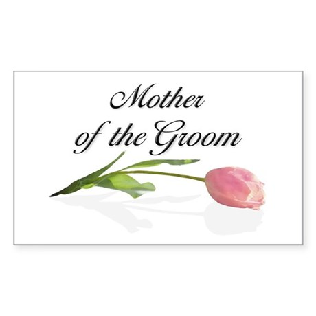 Pink Tulip Mother of Groom Rectangle Sticker