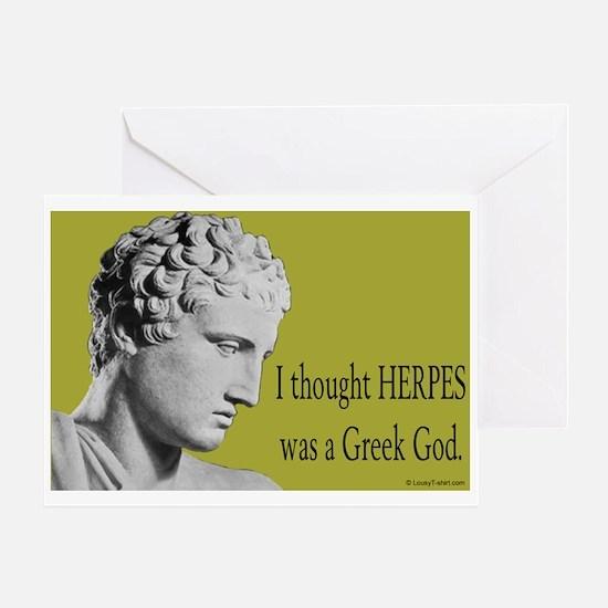 Greek God Herpes Greeting Card