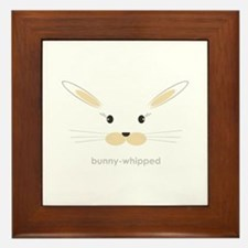 bunny face - straight ears Framed Tile