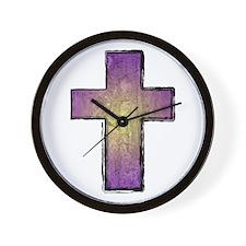 Jesus Christ Stone Cross Wall Clock